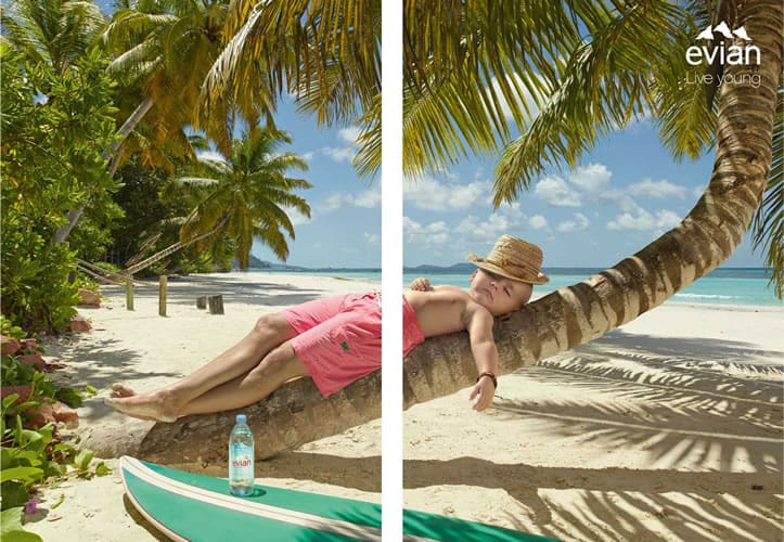 Baker Kent photo production Seychelles - Evian BETC