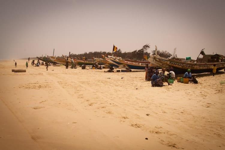 Fishing boats on a beach