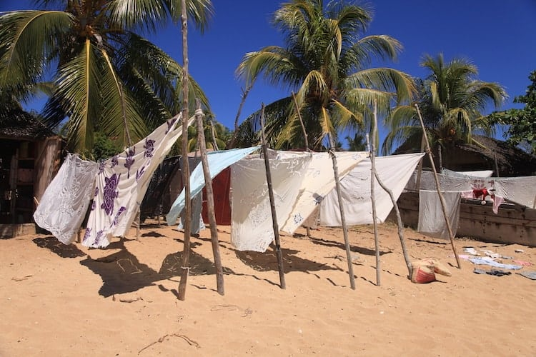 Laundry on the beach in Madagascar