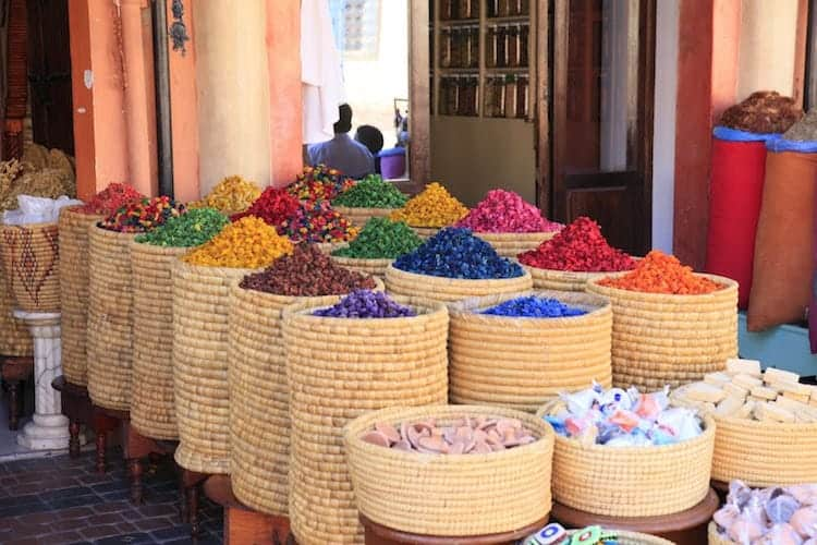 Colourful spices in a shop