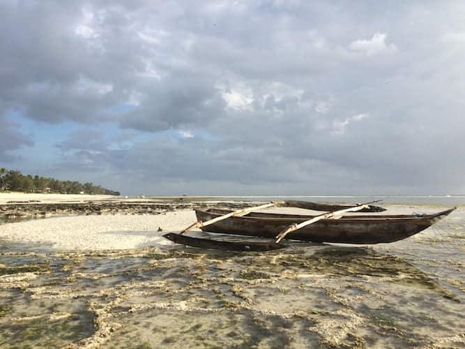 Old, unused, traditional boat in Zanzibar