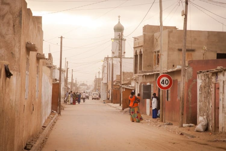 People in a quiet Senegalese street