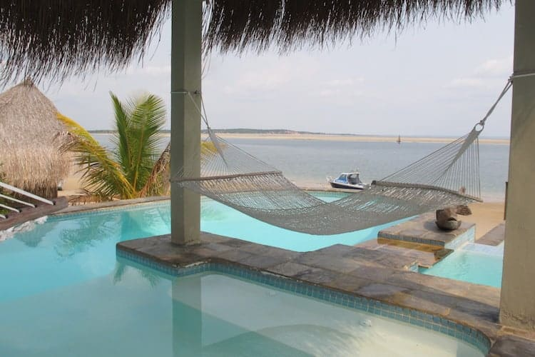 Hammock by a swimming pool