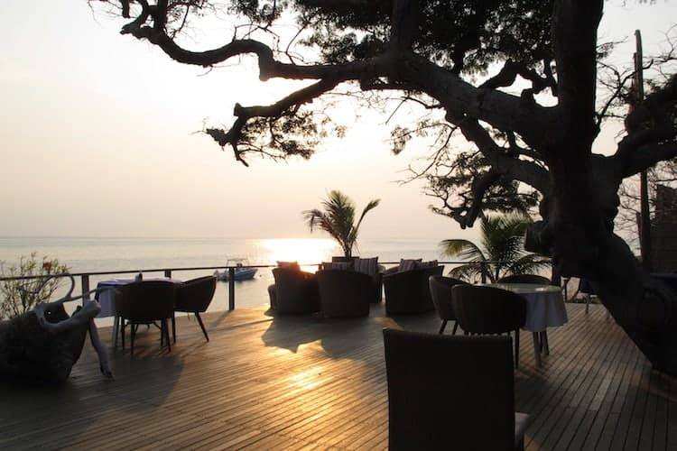 Resort restaurant at sunset