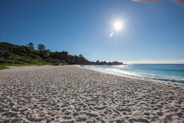 Sun shining onto the beach