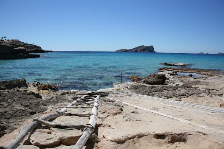 Jetty with a wooden ladder