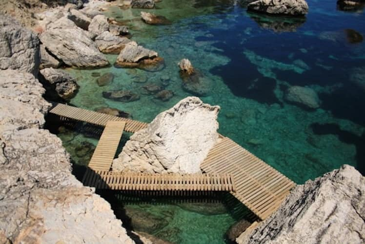 Wooden jetty over a tidal pool