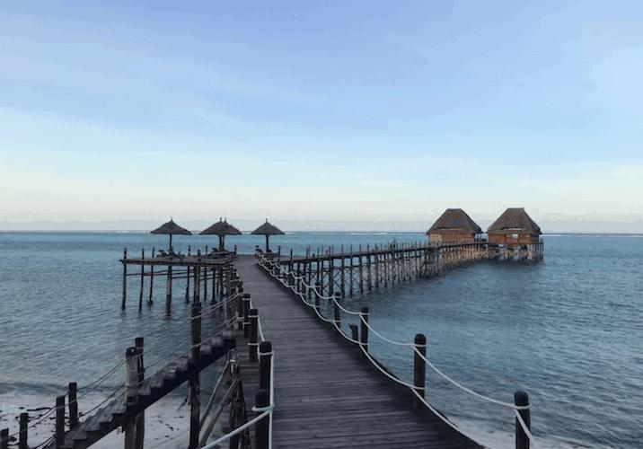 Pier with bungalows in Zanzibar