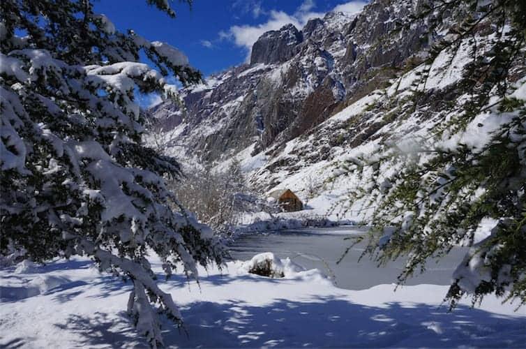 Snowy mountain lake, Chile