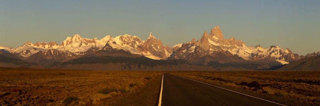 Long road, leading to mountains, Chile