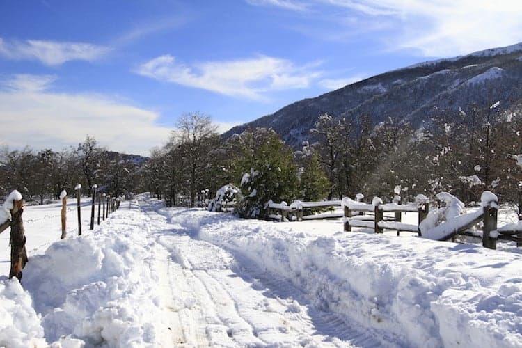 Snowy farmland, Chile